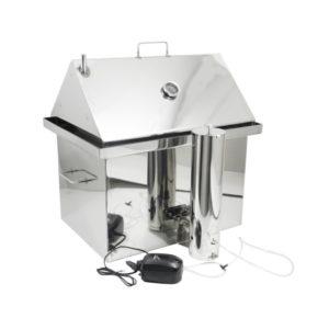 Коптильня Большая Плюс для горячего и холодного копчения из нержавейки с гидрозатвором и крышкой домиком 2.0 мм